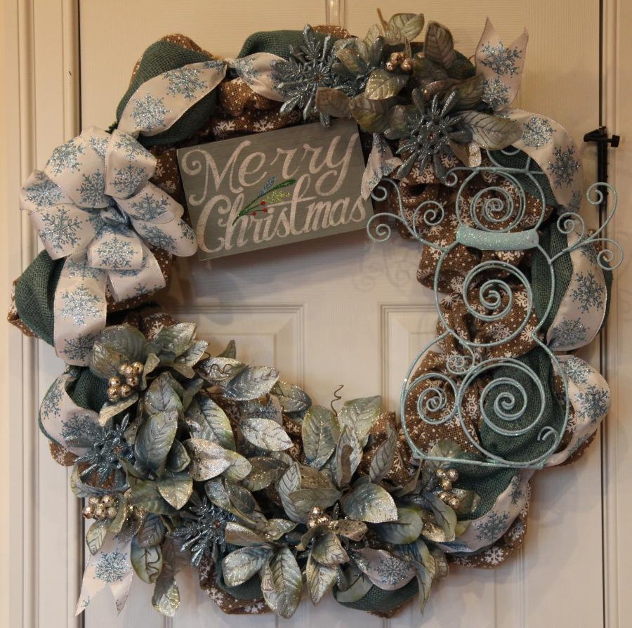 Burlap Snowman Wreath
